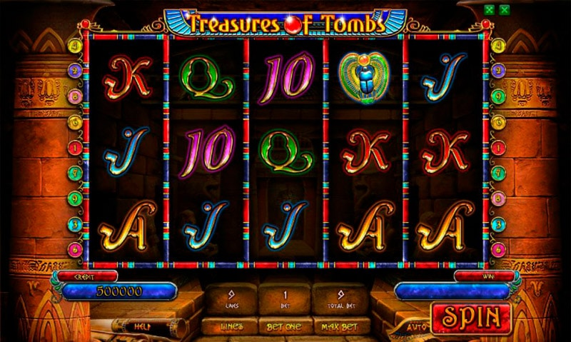 Интерфейс игры Покердом Treasures of Tombs